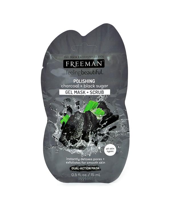 FREEMAN Polishing Gel Mask + Scrub Полирующая гель-маска и скраб для лица «Уголь и Черный сахар» 15g