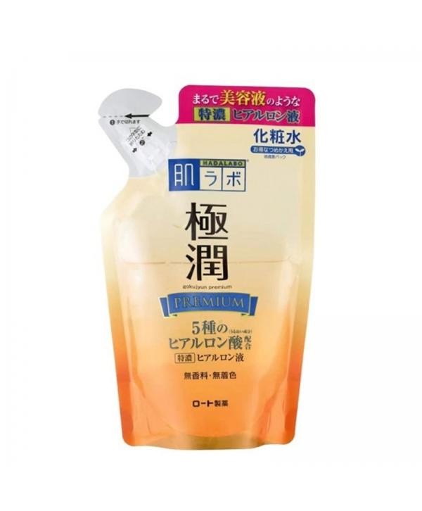 HADALABO GOKUJYUN Premium Супер увлажняющий лосьон для лица на основе 5 видов гиалуроновой кислоты (сменный блок) 170 мл