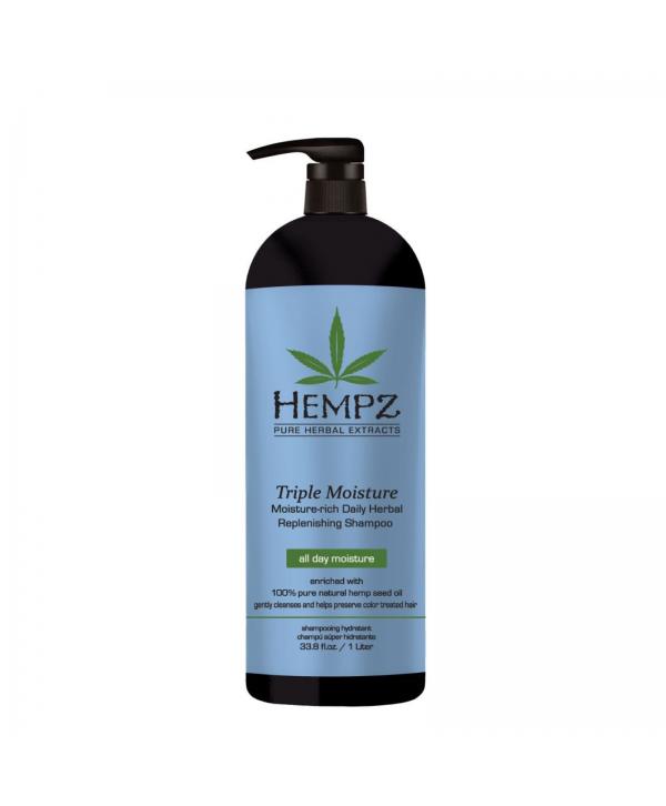 HEMPZ Triple Moisture Shampoo 1000 ml Растительный шампуньТройное Увлажнение сильной степени увлажне