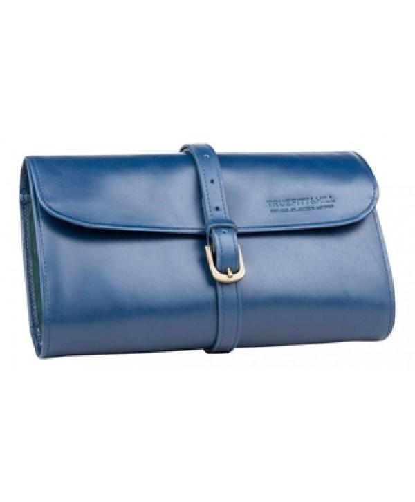 Truefitt&Hill  00560  Military Roll Up Wet Pack - Blue  Кожаная дорожная косметичка ролл / Синяя