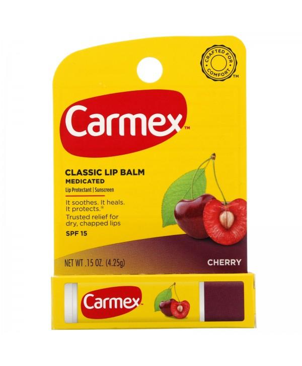 CARMEX Classic Lip Balm Medicated Cherry Классический бальзам для губ в тюбике с лечебным эффектом