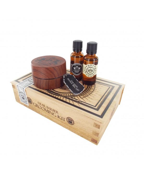 DEAR BARBER НАБОР Shave Care Collection туалетная вода, масло для бритья, крем бисквит для бритья
