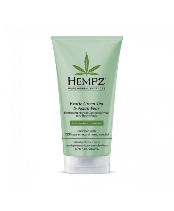 HEMPZ Exotic Green Tea & Asian Pear Herbal Cleansing Mud and Body Mask 200 ml Растительная отшелушиватель