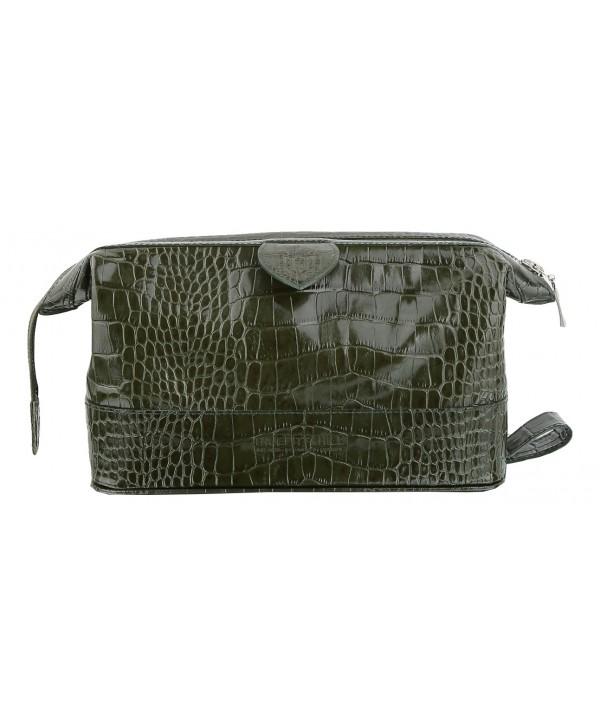 Truefitt&Hill  90011  Gentleman's Wash Bag - Green crocodile  Косметичка на молнии / Зелёный крокодил