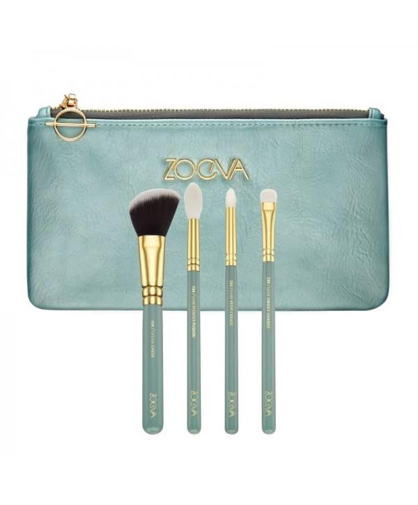Zoeva Offline Set 4 brushes + cloutch Набор кистей в серо-зеленой косметичке